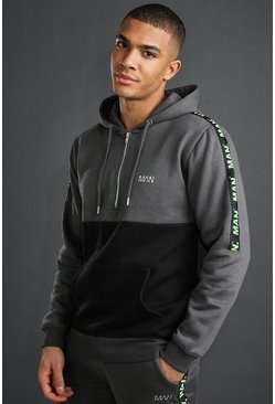 Charcoal MAN 1/4 Zip Hoodie With Tape Detail