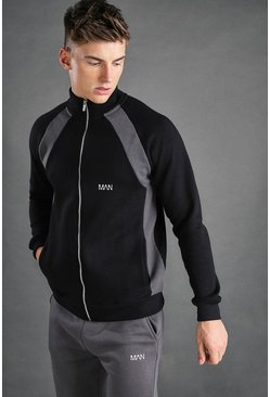 Black MAN Jersey Funnel Neck Panel Detail Zip Through