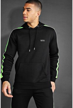 Black MAN Hoodie With Reflective Piping Detail