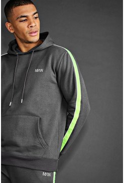 Charcoal MAN Hoodie With Reflective Piping Detail