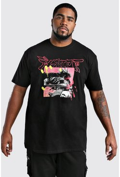 Mens Black Big And Tall Samurai Print T-Shirt
