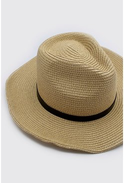 Natural Cord Detail Straw Hat