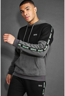 Charcoal MAN Active Hoodie With Tape Detail