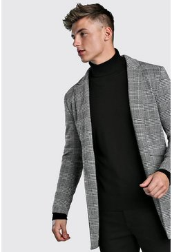Mens Grey Check Single Breasted Wool Look Overcoat