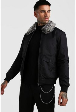 Black Faux Fur Collar 2 Pocket Bomber