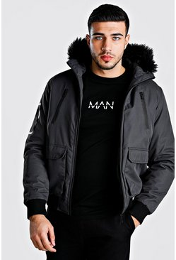 Mens Grey Faux Fur Collar Padded Bomber