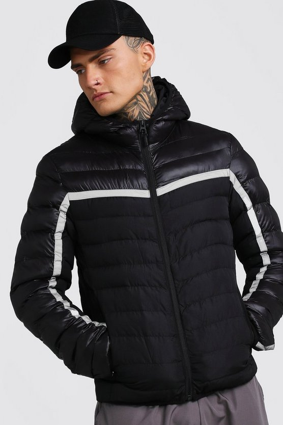 Mens Black Quilted Reflective Jacket With Hood
