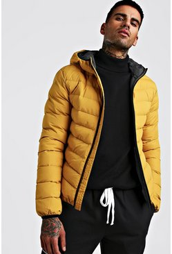 Mustard Quilted Hooded Jacket