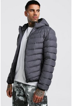 Grey Quilted Hooded Jacket
