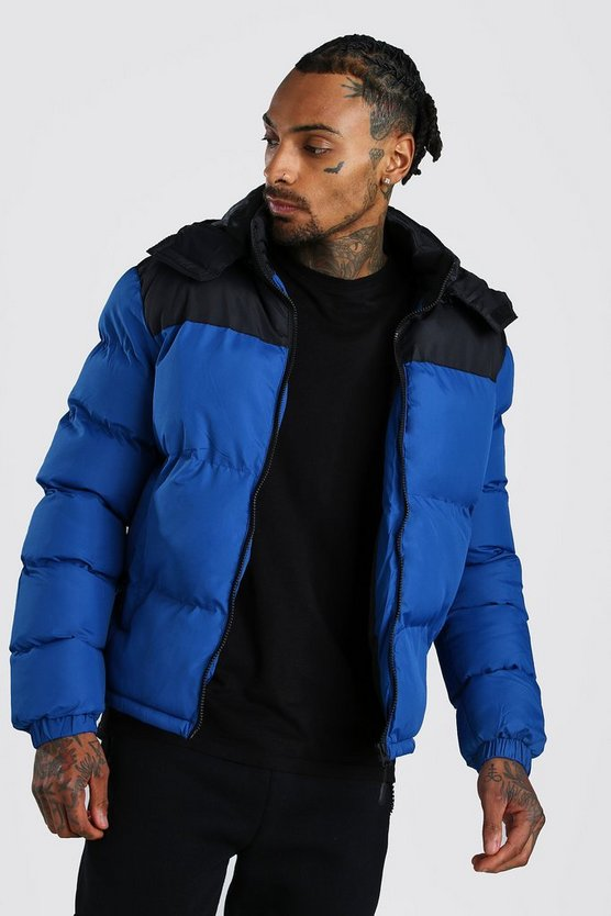 Colour Block Puffer by Boohoo Man