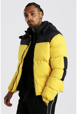 Mens Yellow Colour Block Puffer