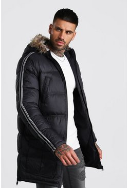 Mens Black Longline Puffer With Faux Fur Hood And Side Tape