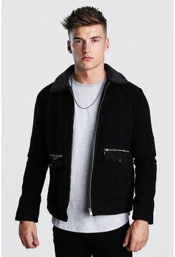 Mens Black Wool Look Zip Through Bomber With Borg Collar
