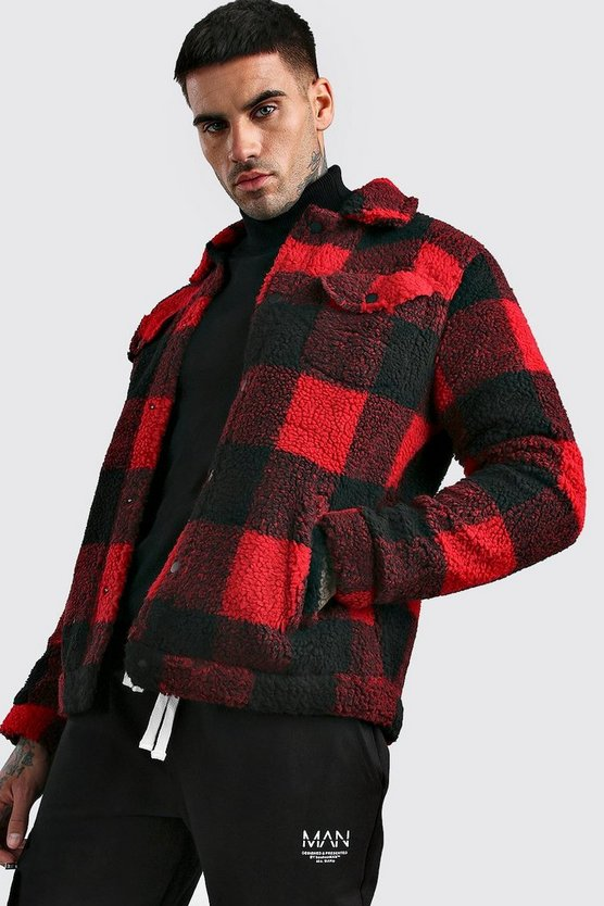 Check Teddy Faux Fur Harrington by Boohoo Man