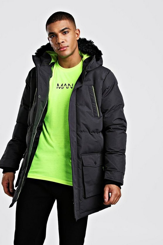 Mens Charcoal Padded Puffer Parka With Fur Hood Neon Trims