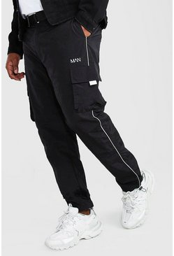 Black Big And Tall Shell Cargo Joggers