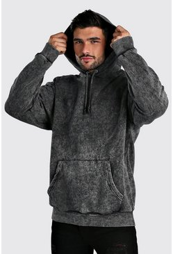 Charcoal Oversized Hoodie In Acid Wash