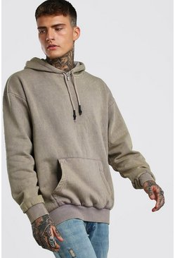 Khaki Oversized Hoodie In Acid Wash
