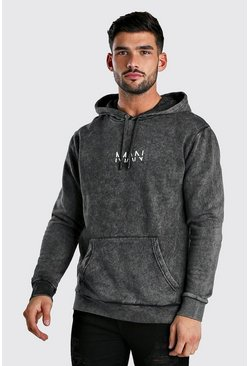 Charcoal Original MAN Hoodie In Acid Wash