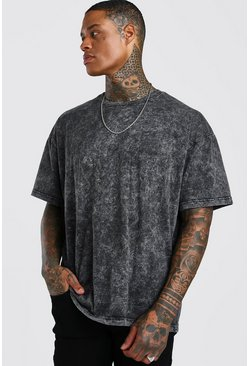 Charcoal Oversized T-Shirt In Acid Wash