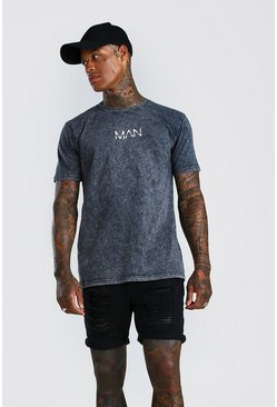 Charcoal Original MAN T-Shirt In Acid Wash