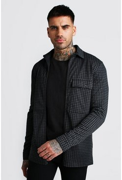 Charcoal Dogtooth Jacquard Zip Through Shirt Jacket