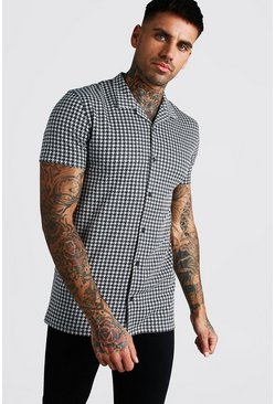 Grey Short Sleeve Muscle Fit Dogtooh Shirt