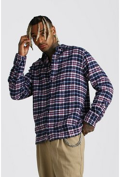 Red Long Sleeve Oversized Check Shirt