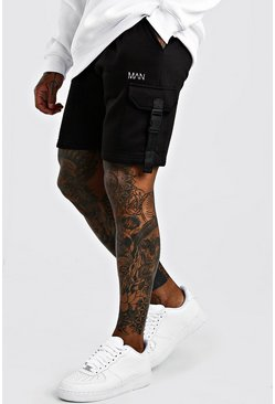 Black Original MAN Jersey Cargo Short With Buckle