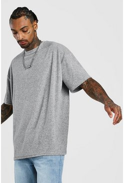 Oversize T-Shirt in Frottee-Optik, Grau