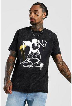 Black Disney Mickey Loose Fit Graffiti Acid Wash T-Shirt