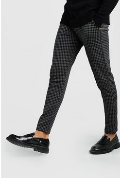 Mens Charcoal Dogtooth Skinny Fit Pintuck Jogger Trouser