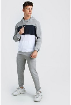 Grey MAN Colour Block Pique Hooded Tracksuit