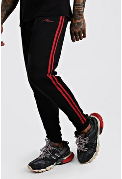 Black MAN Signature Skinny Fit jogger With Side Tape