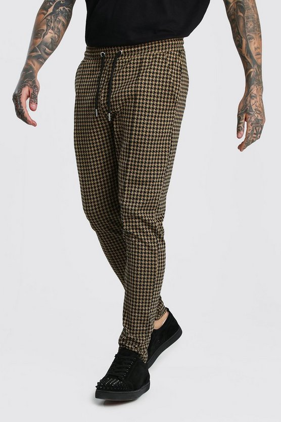 Dogtooth Skinny Fit Pintuck Jogger Trouser by Boohoo Man