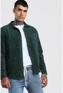 Green Cord Button Through 2 Pocket Shacket