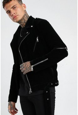 Black Velour Biker Jacket