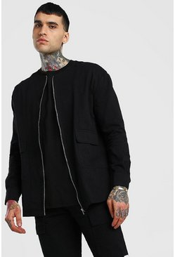 Black Long Sleeve Collarless Shirt Jacket