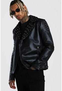 Black Studded Moto Jacket Faux Leather