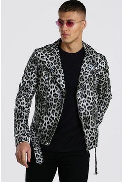 Leopard Animal Faux Leather Biker