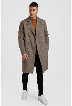 Camel Check Double Breasted Long Overcoat