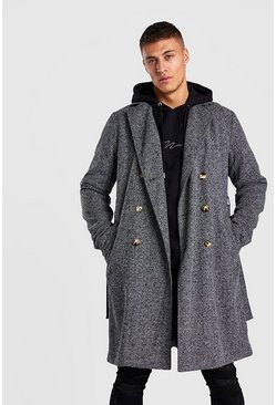 Grey Overcoat Double Breasted With Belt