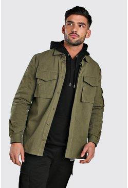 Khaki Long Sleeve Utility Pocket Overshirt