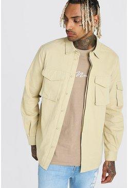 Stone Long Sleeve Utility Pocket Overshirt
