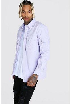 Lilac Long Sleeve Utility Pocket Shirt Jacket