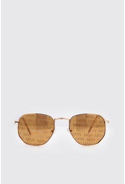 Brown MAN Print Hexagon Sunglasses