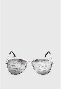 Black MAN Print Aviator
