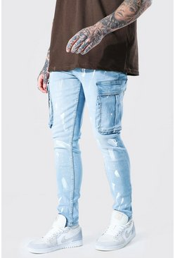 Ice blue Skinny Stretch Painted Cargo Jean