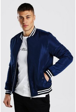 Navy Padded Bomber With Contrast Rib
