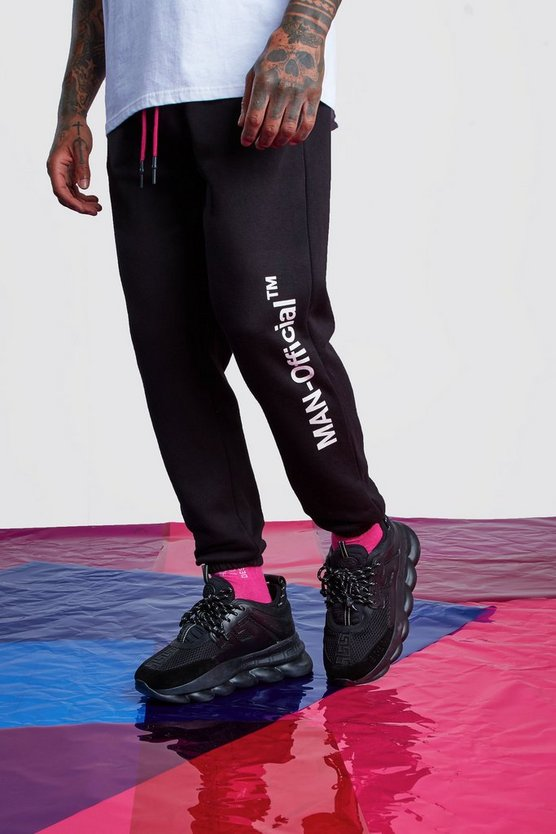 Black Man Official Joggers With Drawcord Detail